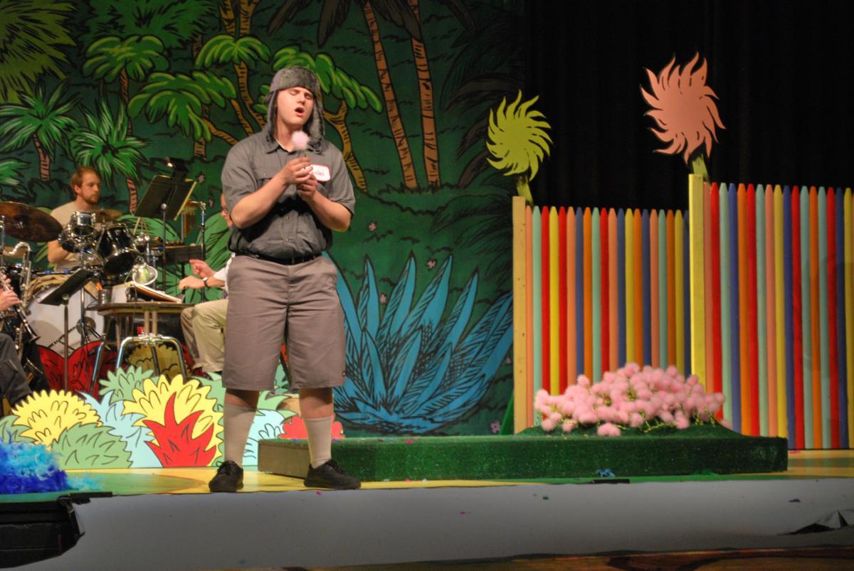"John Spinale sings in Peabody Veterans Memorial High School's production of ""Seussical."""