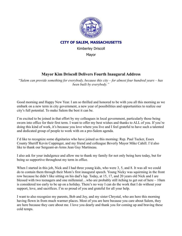 Mayor Driscoll\'s speech | | salemnews.com