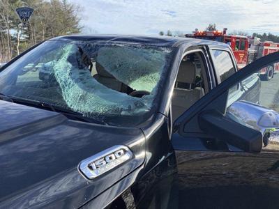 Man seriously injured when ice crashes through windshield