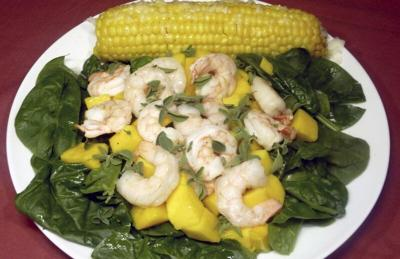 Mango adds sweet flavor to shrimp salad