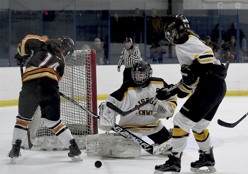 BACK ... AND BETTER THAN EVER: Bishop Fenwick's Wesley is at home between the pipes