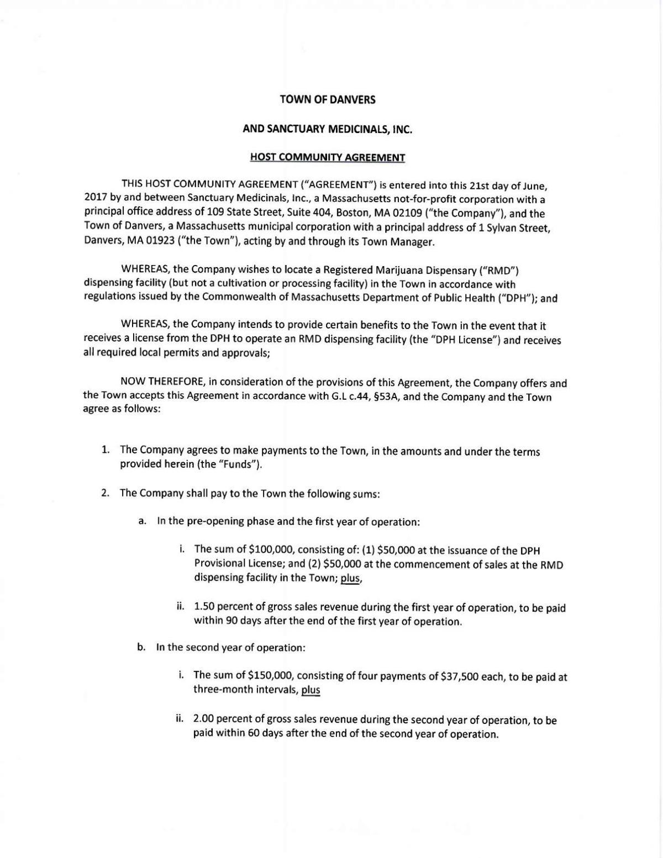 Host Community Agreement Between Danvers And Sanctuary Medicinals