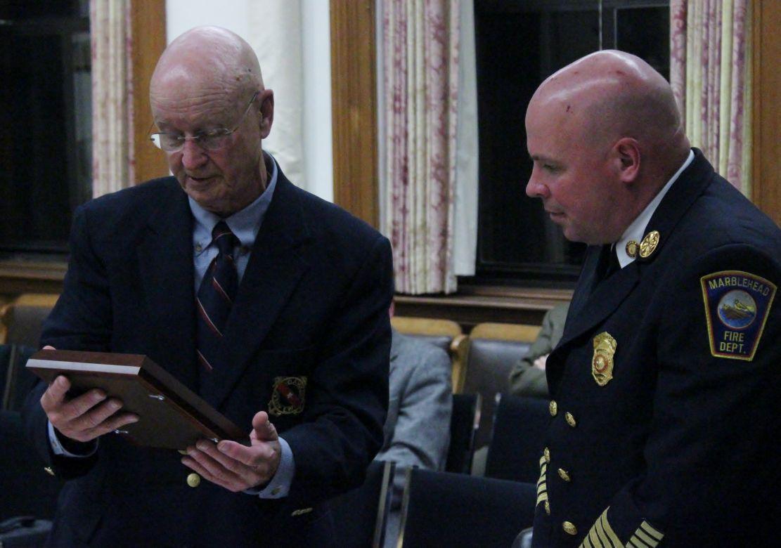 Frank Morse presents plaque