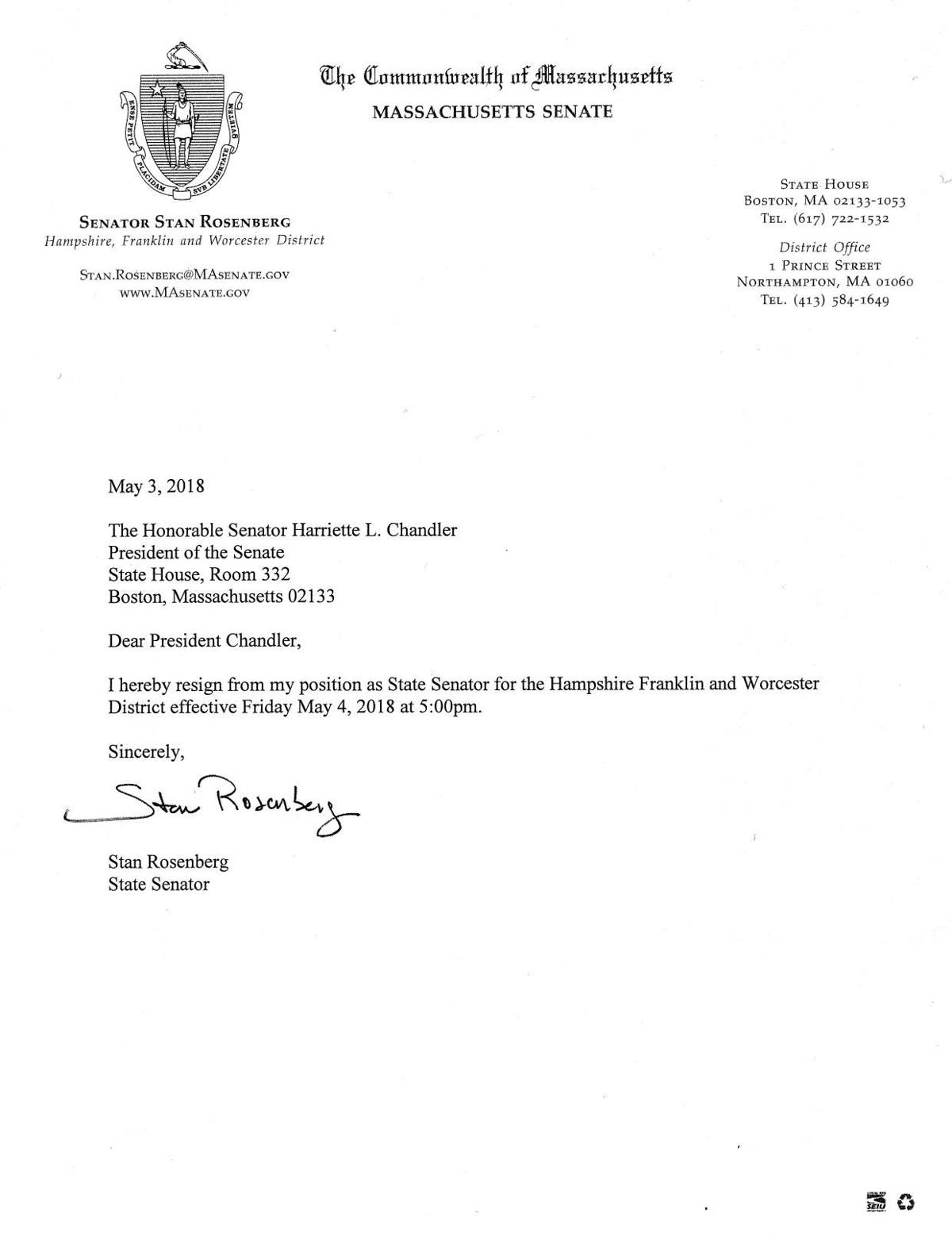 Rosenberg Resignation Letter Salemnews
