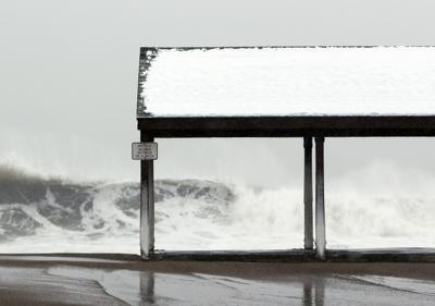 High tide at Devereux Beach in Marblehead