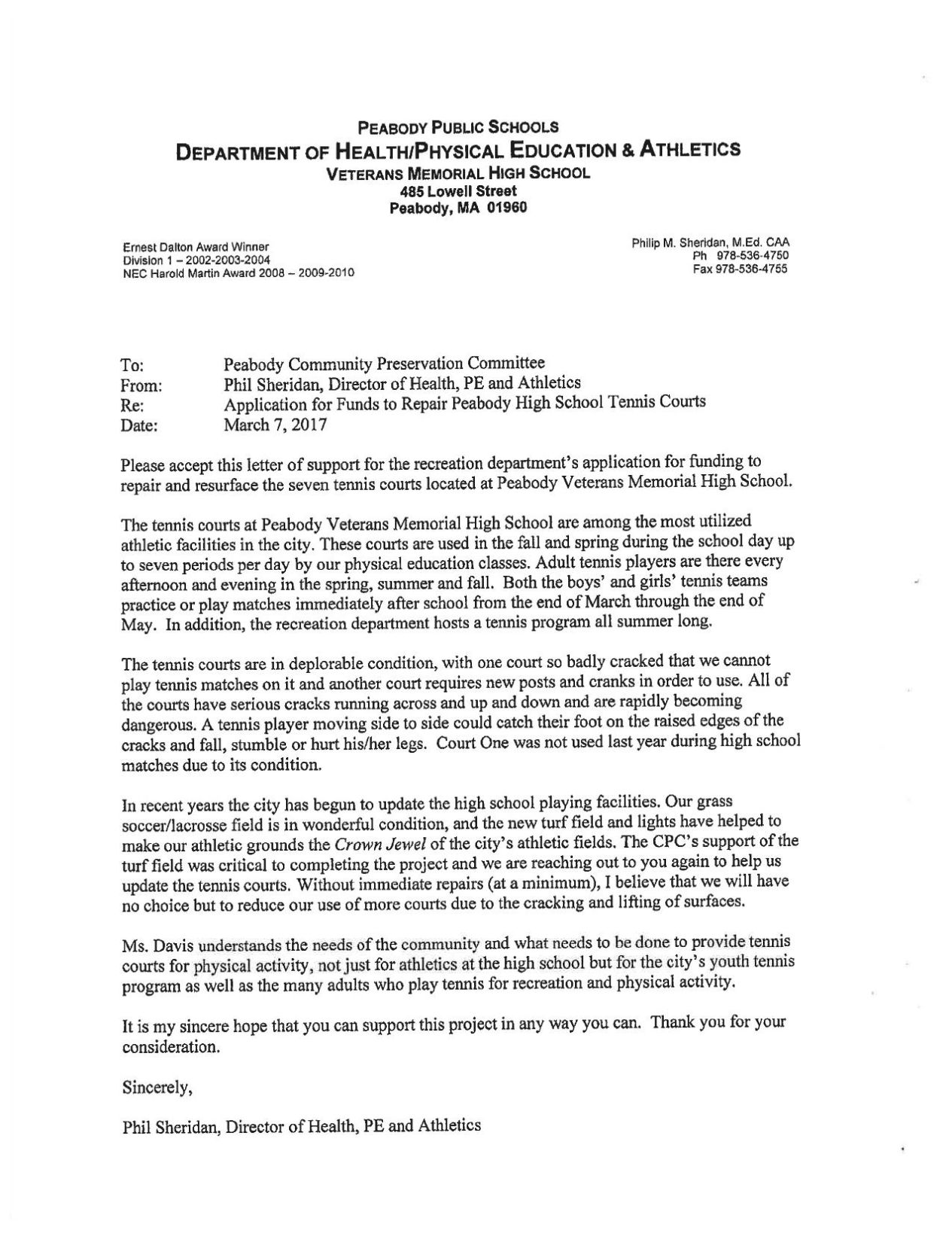 Download PDF Letter from Phil Sheridan