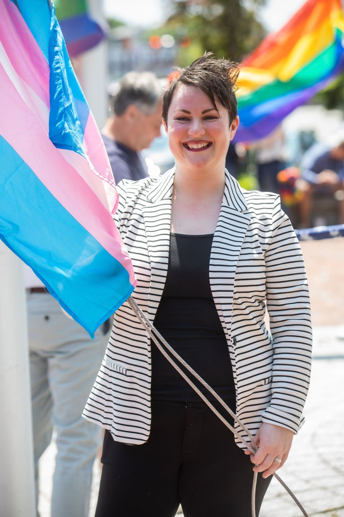 Rainbow, transgender pride flags fly in downtown Salem