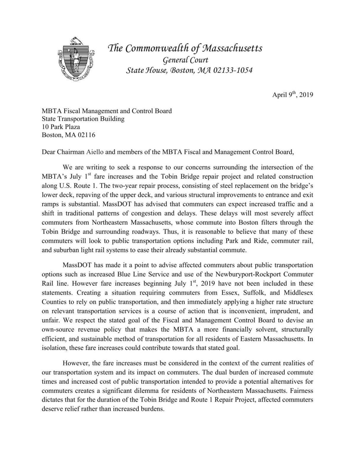 Letter from lawmakers regarding MBTA fare hikes