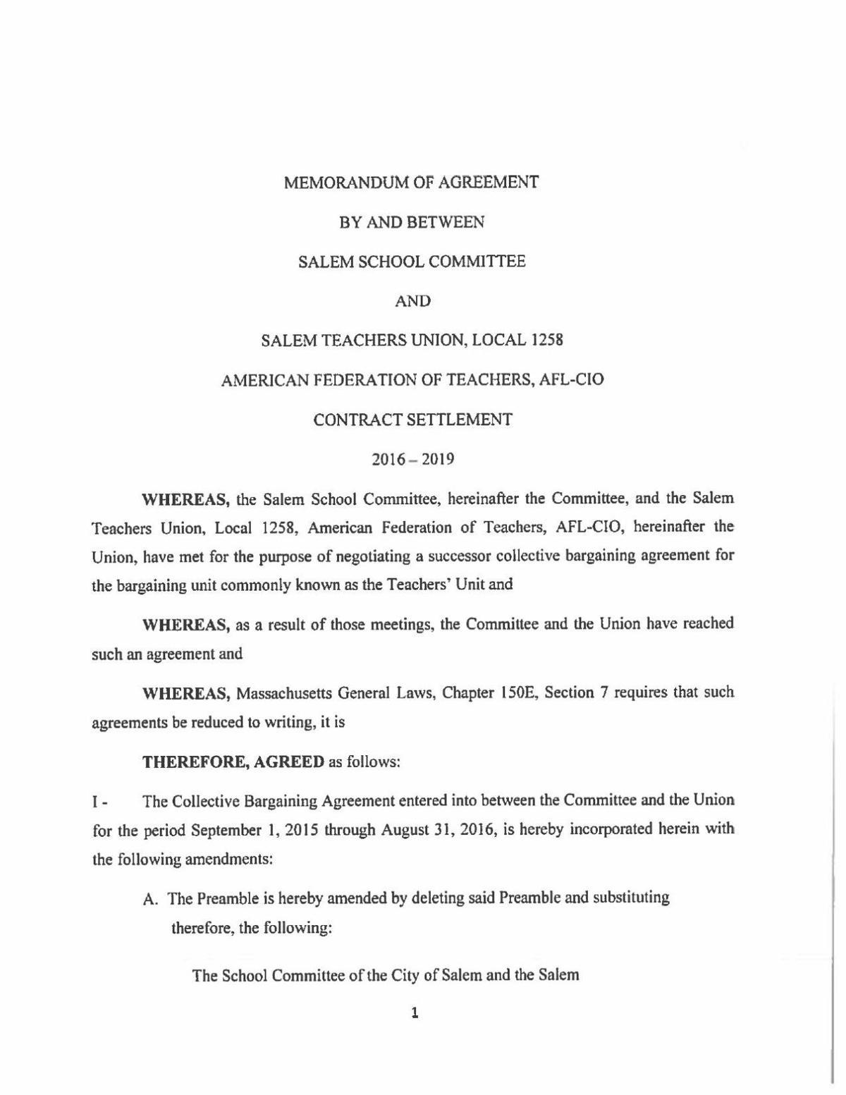 Salem Teachers Contract Memorandum Salemnews