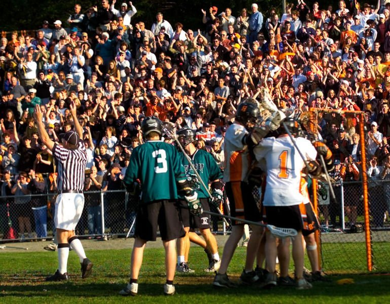 The large crowd at Hurd Stadium reacts after the Panthers scored a goal in  their 8-7 win over Duxbury in the 2003 Division 1 state championship game. aad0ddf43