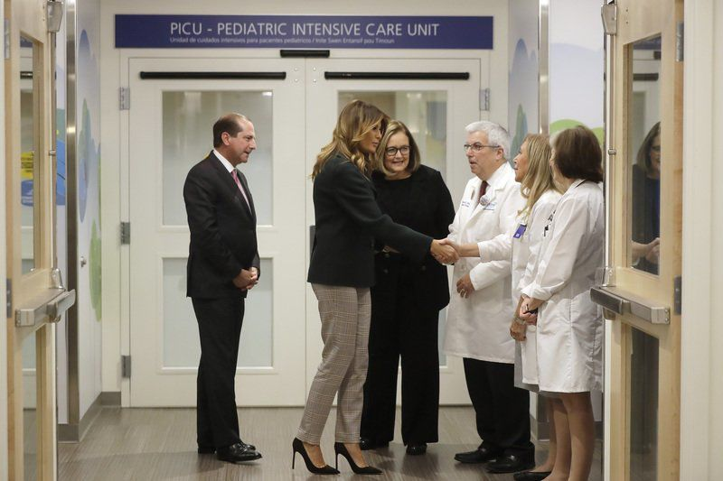 First lady visits cuddling program for babies born on drugs