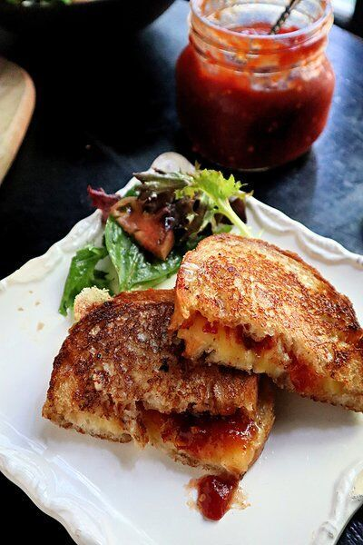 Curl up with comforting grilled cheese and homemade tomato jam