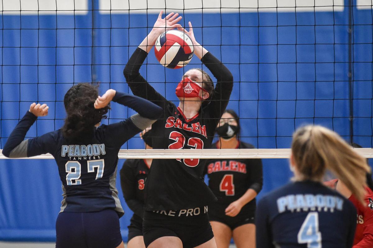 Salem at Peabody girls varsity volleyball game