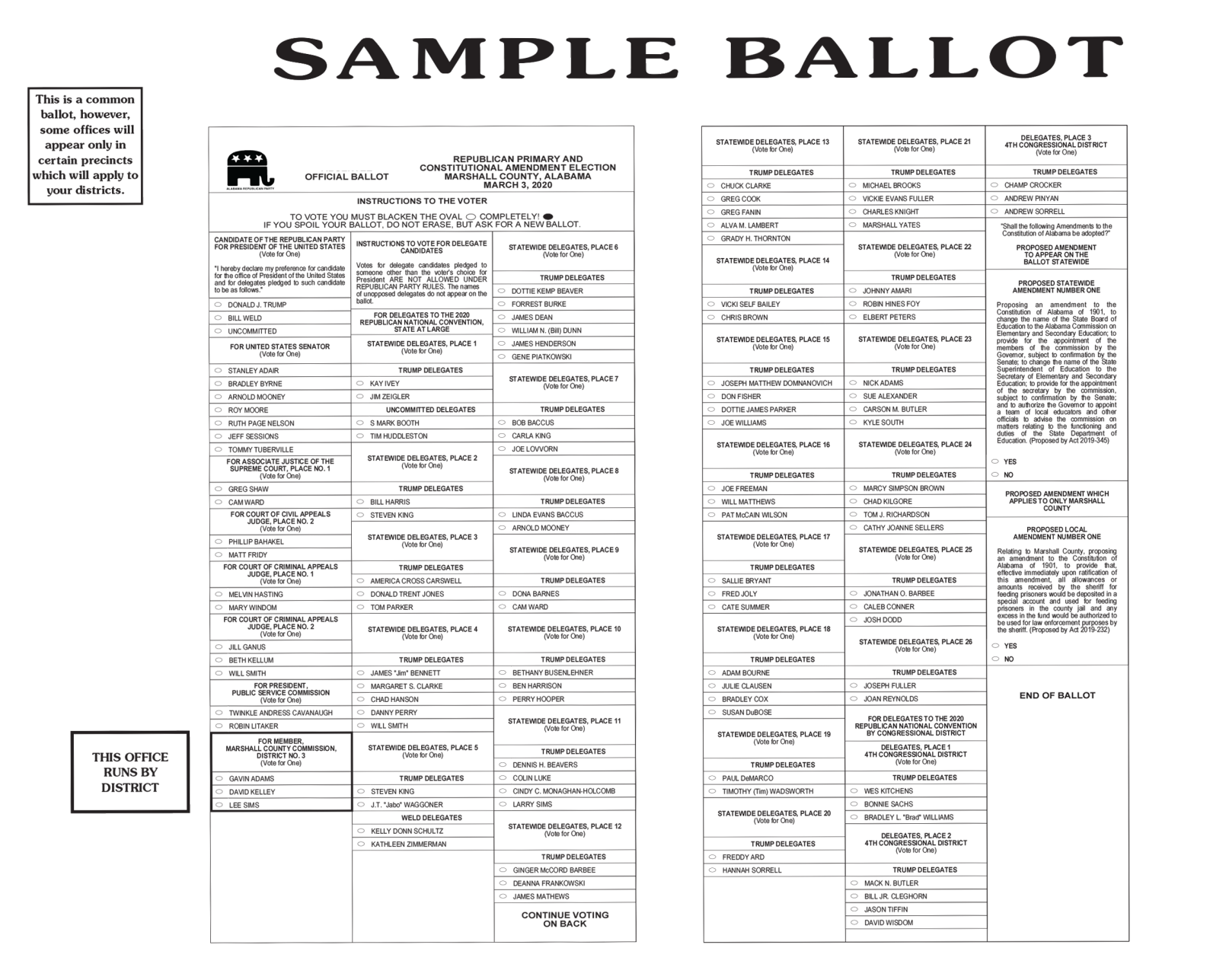 Sample ballots for 2020 primary elections