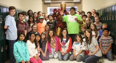 Iron Man visits Evans Elementary School