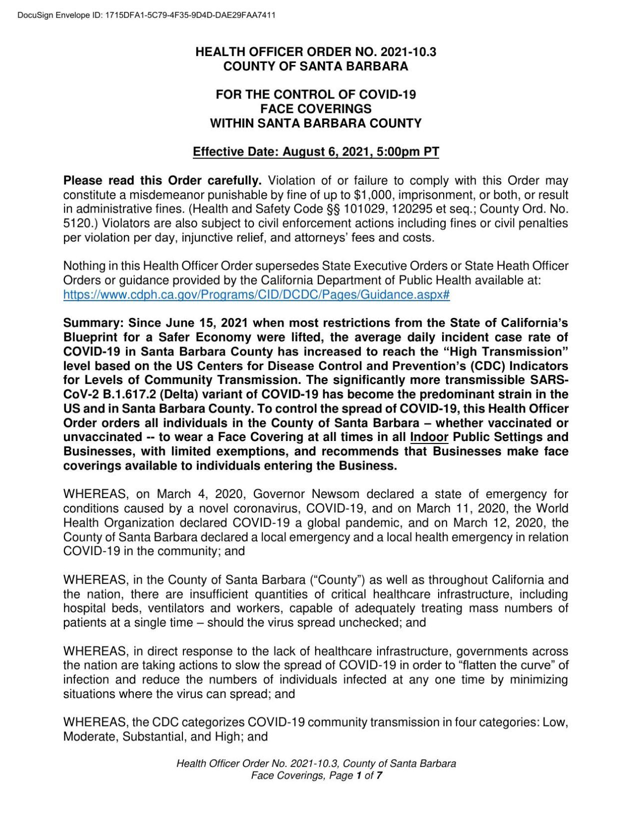 HEALTH OFFICER ORDER NO. 2021-10.3 COUNTY OF SANTA BARBARA