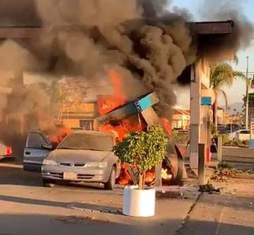 Fire after collision in Santa Maria