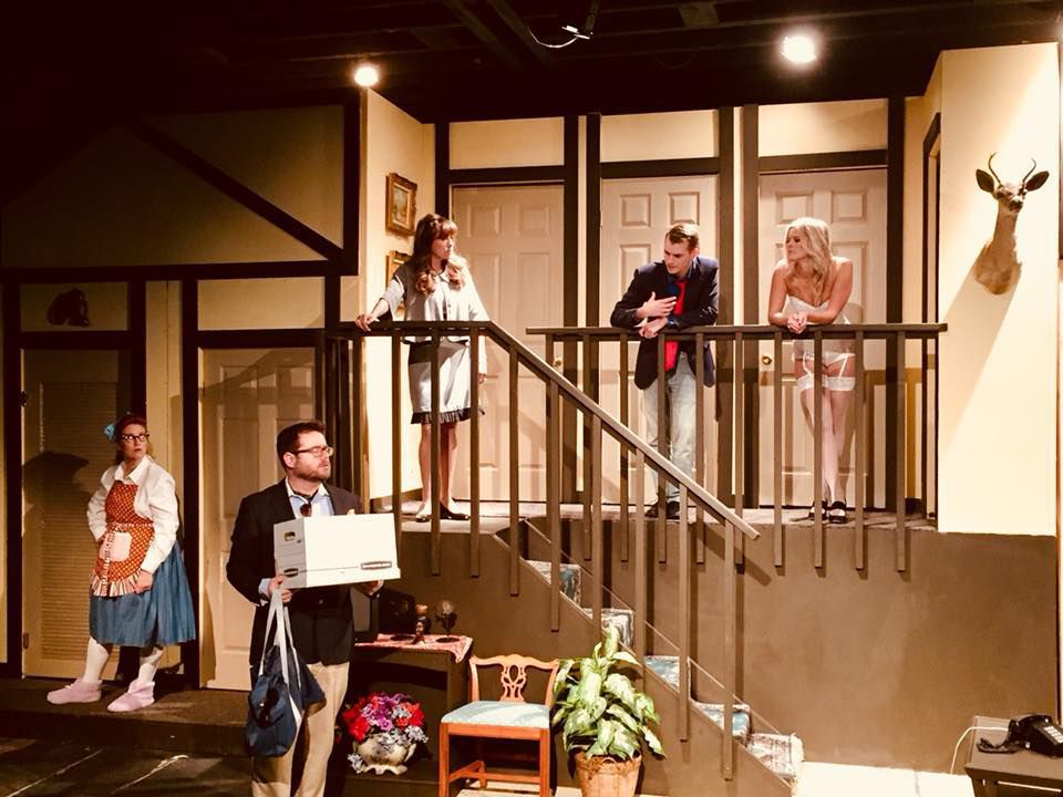 """Noises Off"": Angi Herrick, Jeffrey Staso, Irene Dahmen, Cody Westbay and Ellen Jones"