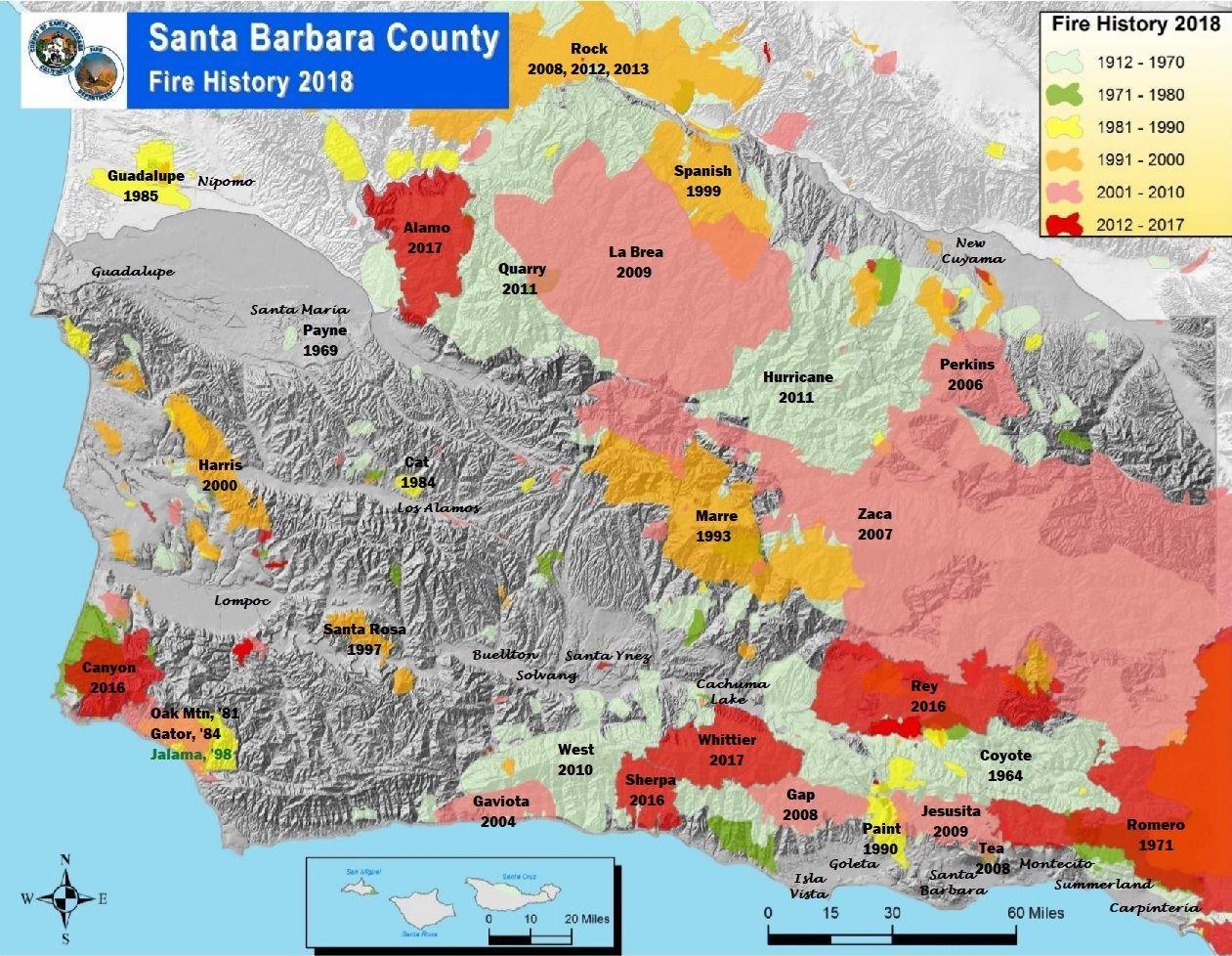 Major fires in Santa Barbara County 1912-2018