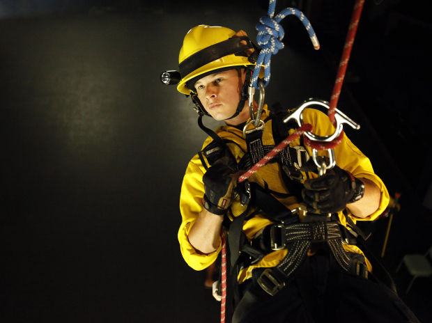Firefighters Train In Rope Rescue
