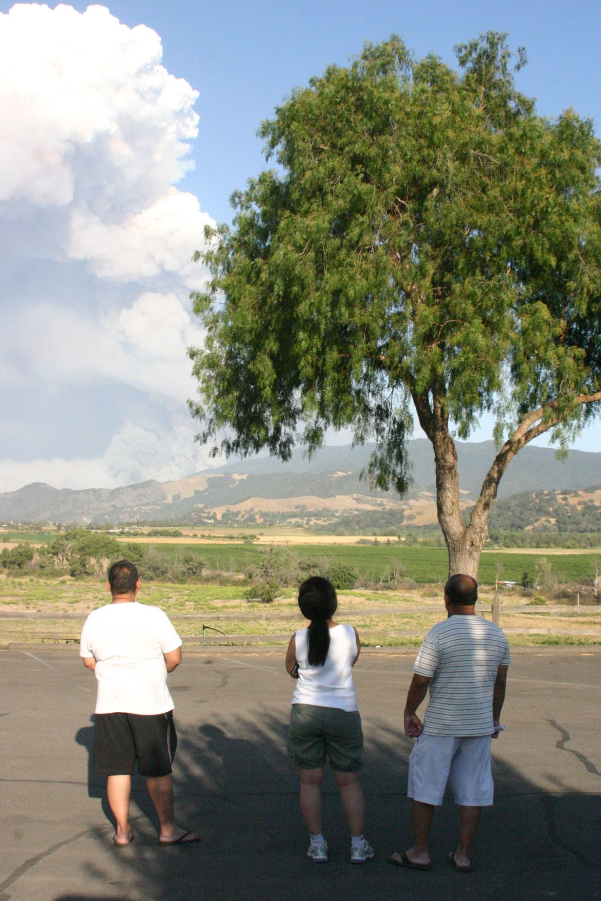 Evacuated campers view smoke from Whittier Fire