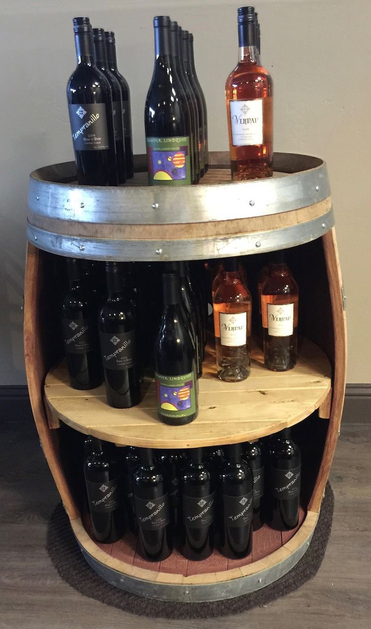 A Verdad wine display in the new tasting room, made from an old oak wine barrel