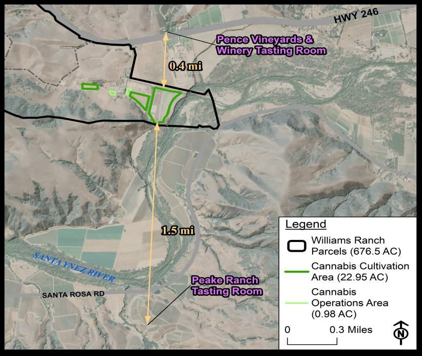 Castlerock applicant map of distances to tasting rooms