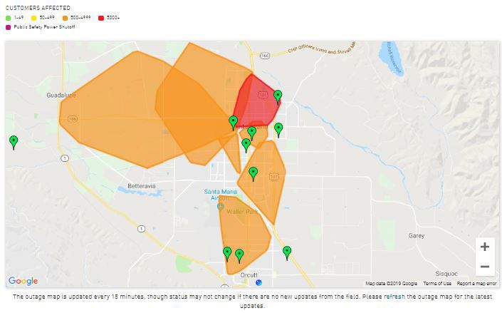 PG&E outage map at 8:20 p.m.