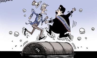 Cartoon: Oil drum rolling