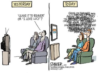 Cartoon: TV then and now