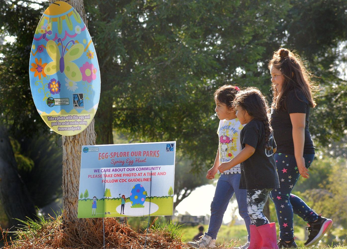 Children at Preisker park discover in hidden egg in Santa Maria Friday afternoon.