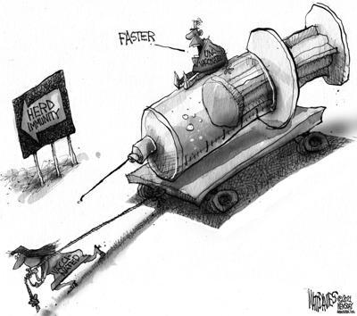 Editorial Cartoon: Herd immunity