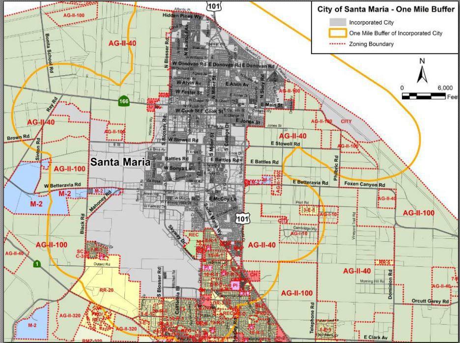 Santa Maria 1-mile cannabis buffer