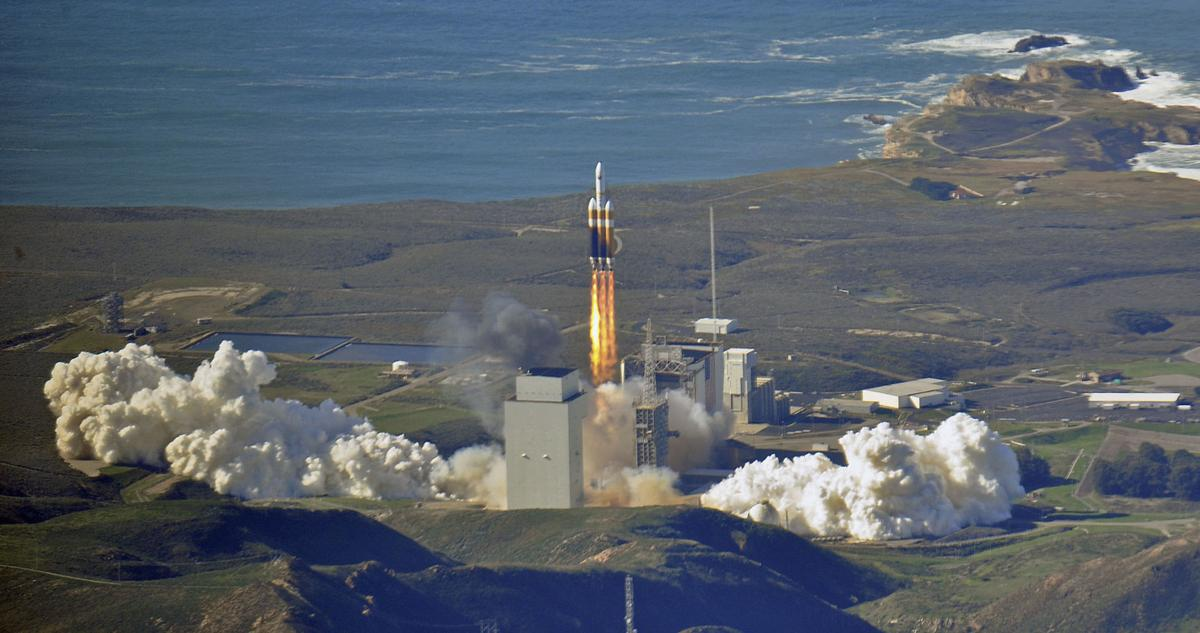 Delta IV Heavy rocket from SB County helicopter