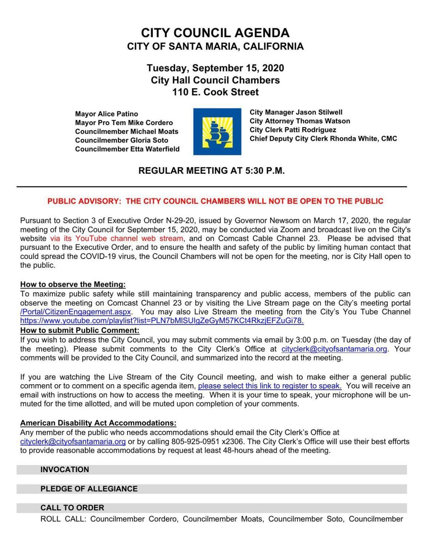 PDF Agenda: September 15 2020 Santa Maria City Council Meeting