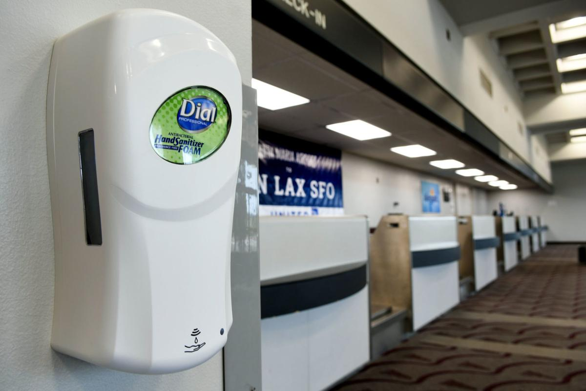 Dispenser of hand sanitizer at Santa Maria Airport