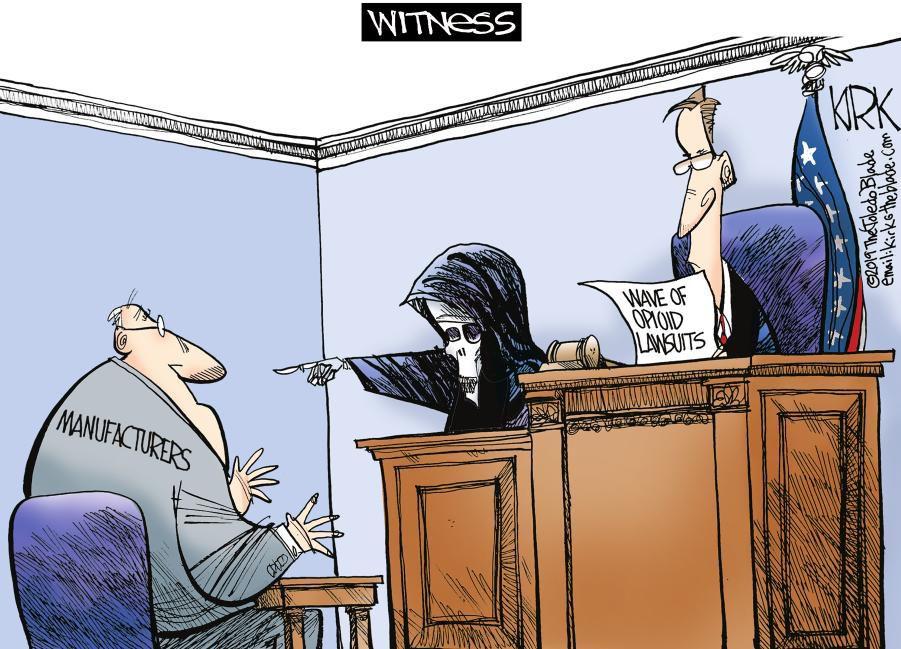 Cartoon: Opioids on trial