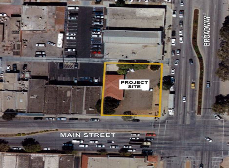 Proposed location of four-story building in Santa Maria