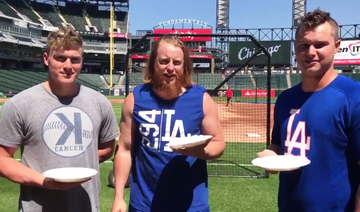 Turner and Dodgers do whipped cream challenge