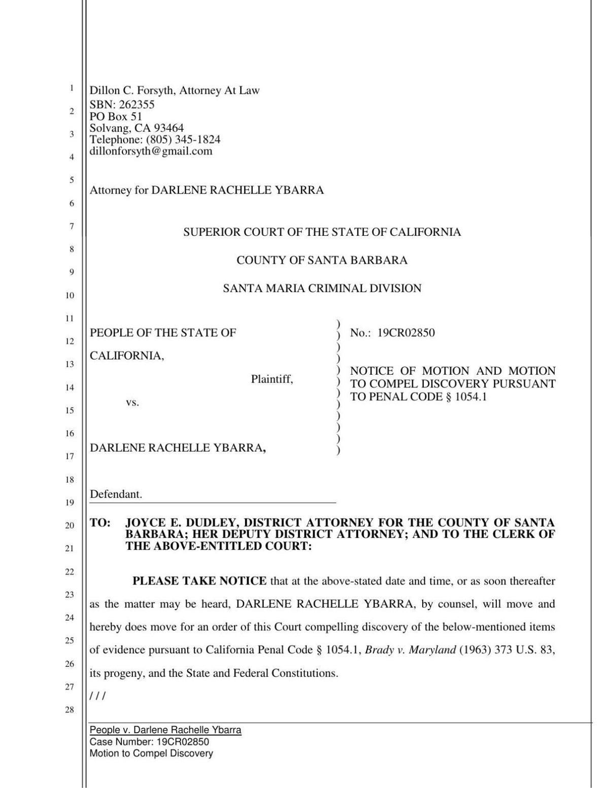 Ybarra motion to compel discovery