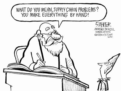 editorial cartoon: elves