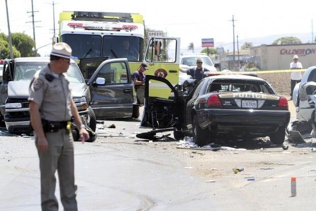 Suspect crashes stolen police car