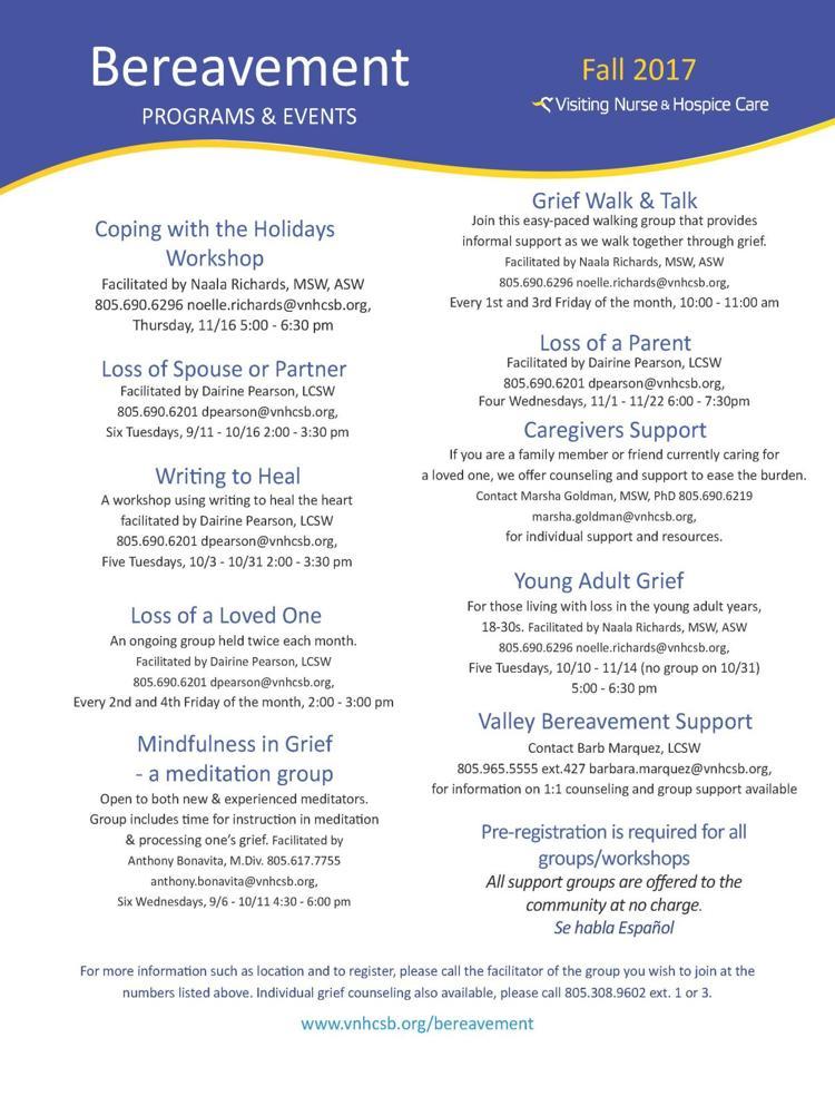 Visiting Nurse & Hospice Care Fall 2017 Bereavement Programs & Events