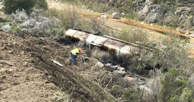 Oil tanker crash on Highway 166