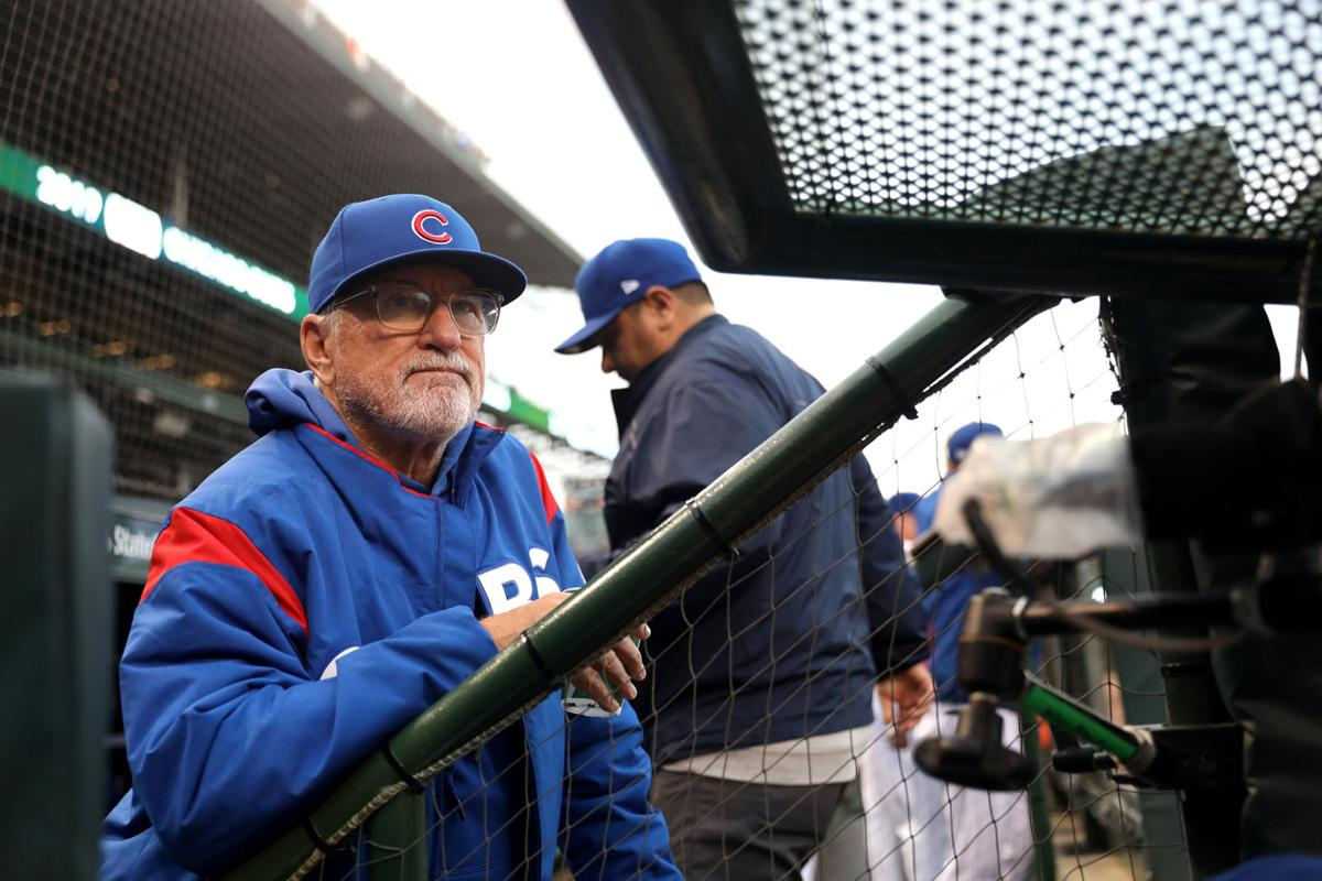 Chicago Cubs manager Joe Maddon looks on in the first inning against the New York Mets at Wrigley Field in Chicago on Thursday, June 20, 2019. The Cubs won, 7-4.
