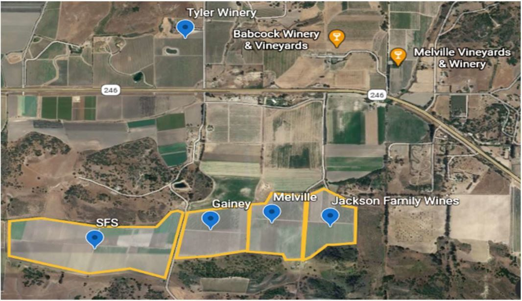 SFS Farms operation in relation to vineyards