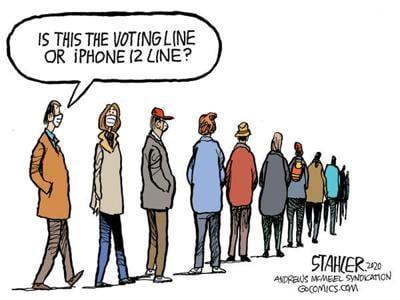 Editorial Cartoon: Voting line?