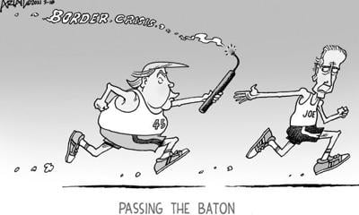 Editorial Cartoon: Passing the baton