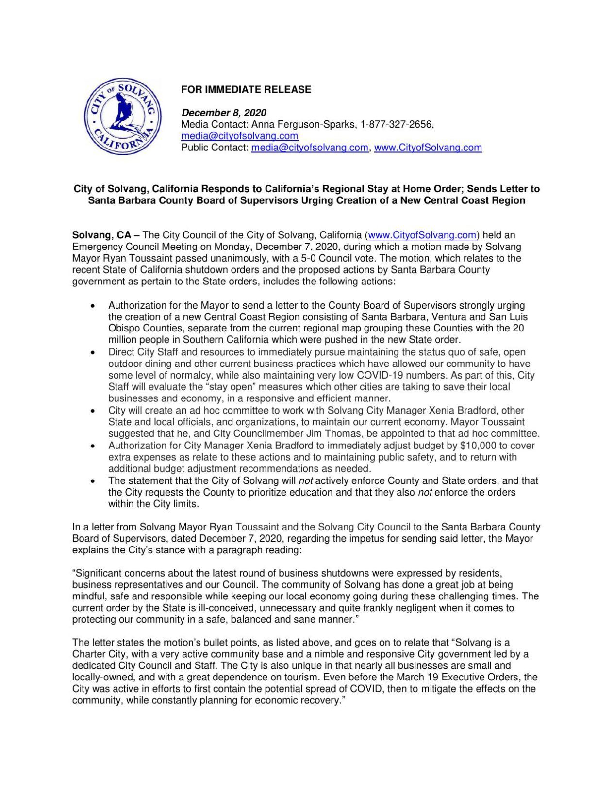 PDF: City of Solvang Responds to California's Regional Stay at Home Order