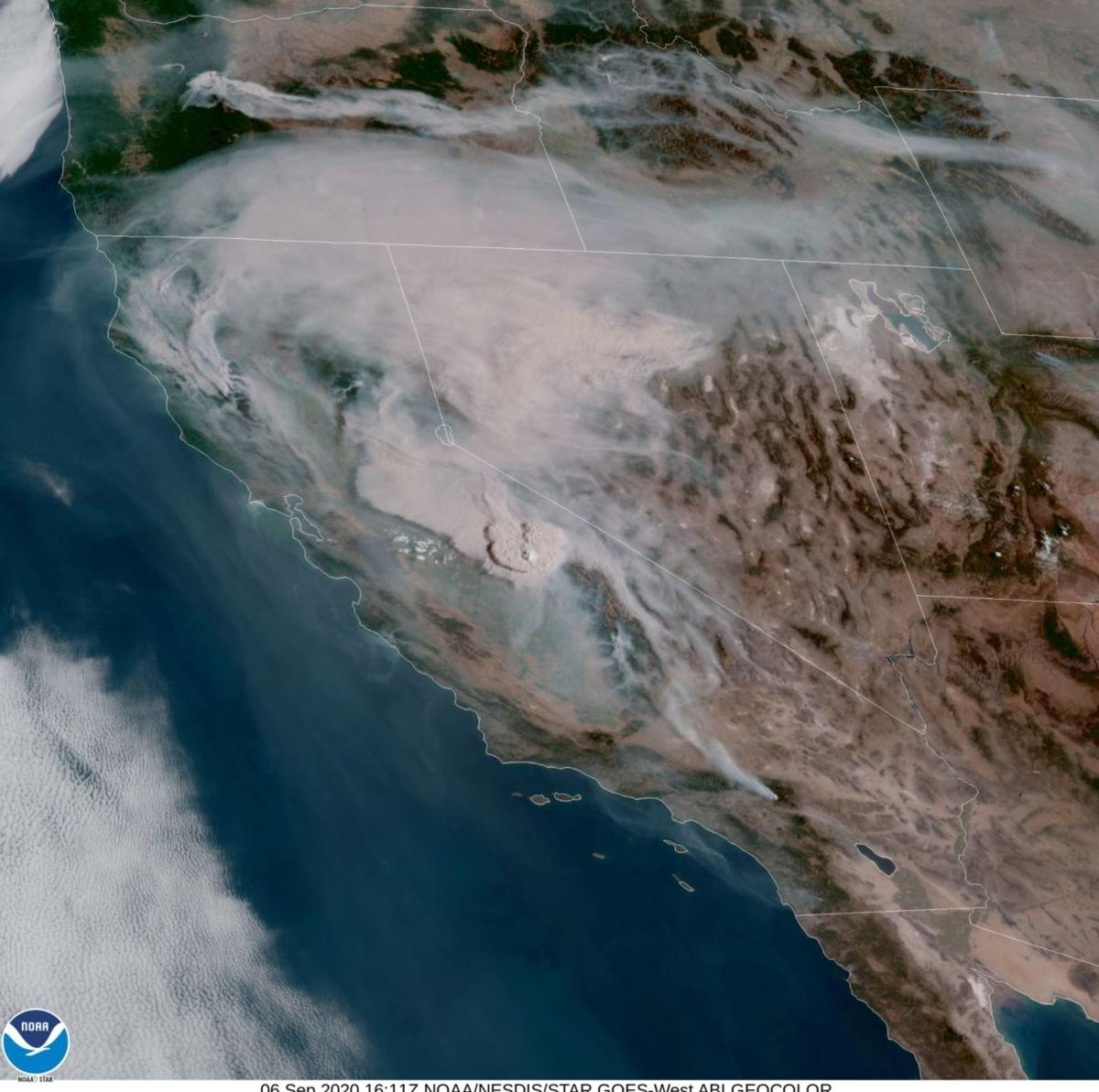 Wildfire smoke satellite view